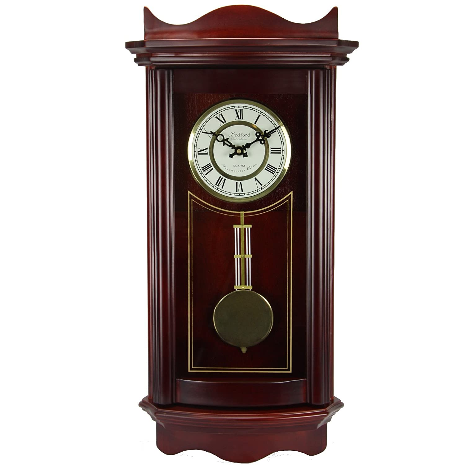 Amazon bedford clock collection weathered wall clock with amazon bedford clock collection weathered wall clock with pendulum cherry wood home kitchen amipublicfo Images
