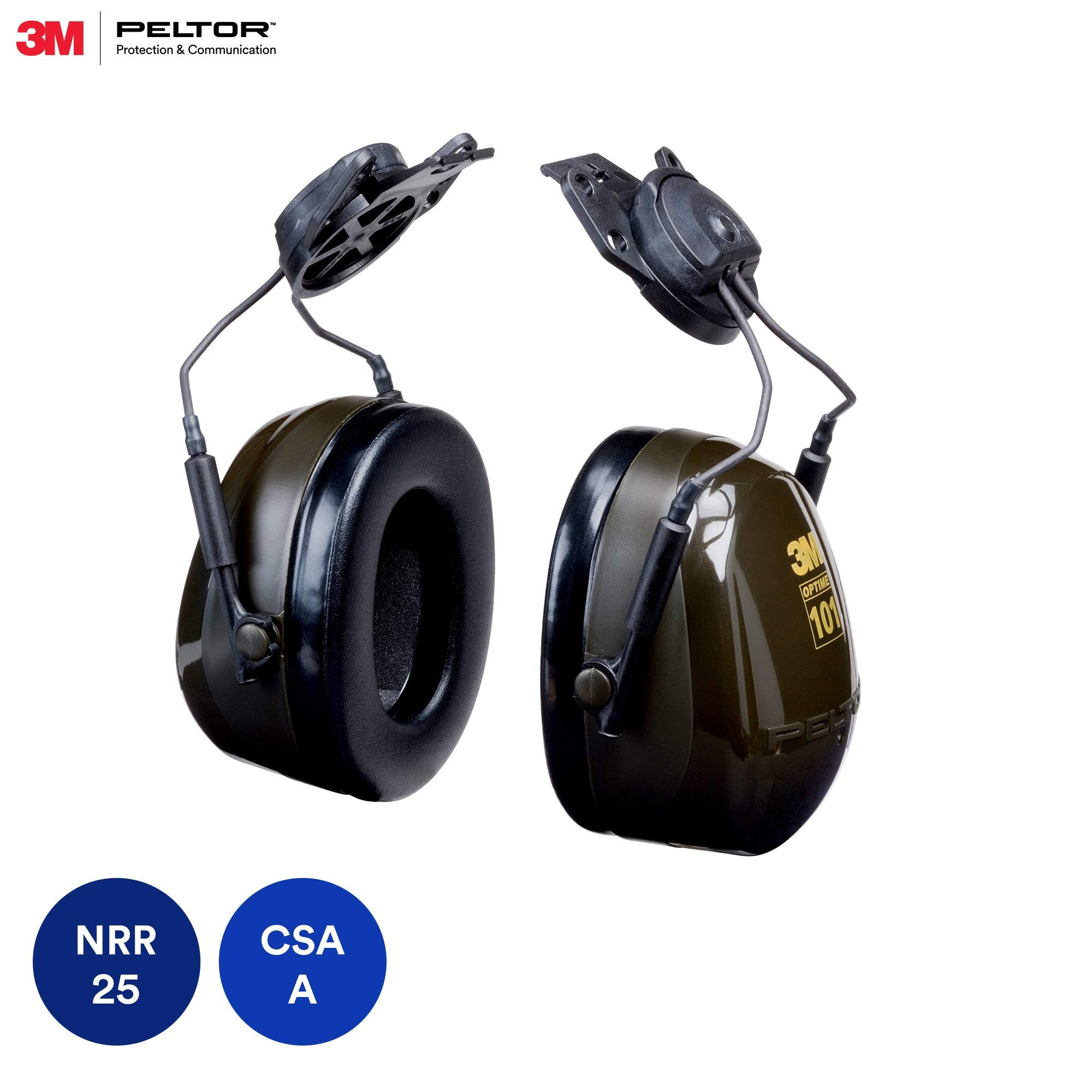 3M Peltor Optime 101 Helmet Attachable Earmuff, Hearing Protection, Ear Protectors, NRR 24 dB by 3M