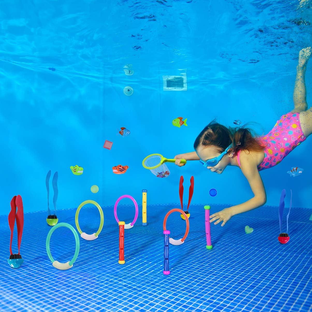 NUOBESTY 26 St/ück Unterwasser Schwimm- Tauchbecken Spielzeug Bunte Tauchringe Fisch Tauchspiel Trainingsgeschenk Unterwasser Schwimm Tauchspielzeug Pool Spielzeug Set
