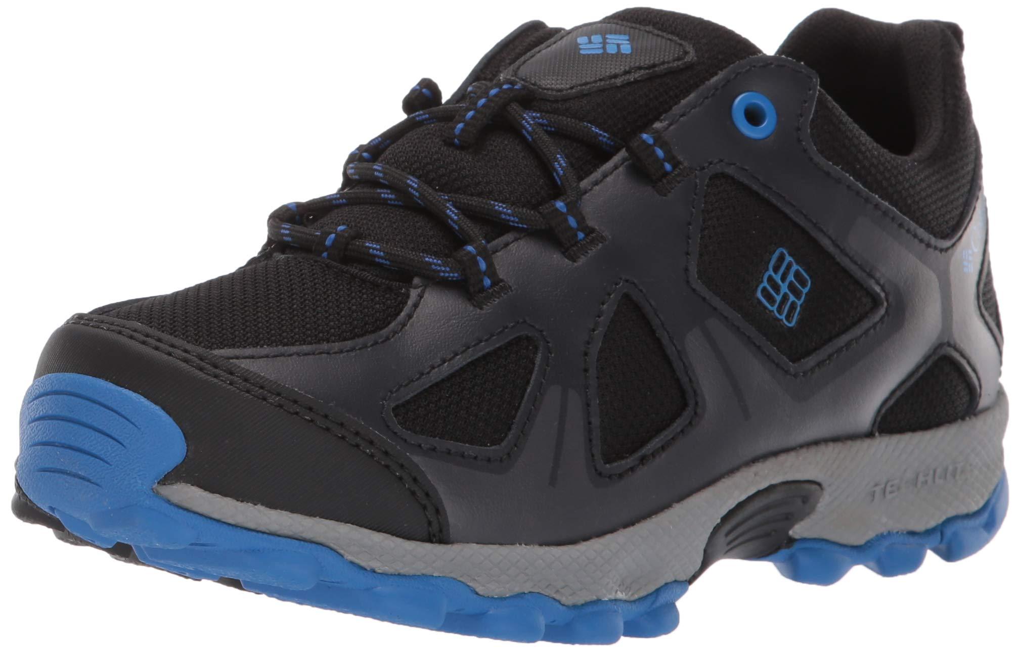 Columbia Unisex Youth Peakfreak XCRSN Waterproof Hiking Shoe Black, Stormy Blue 4 Regular US Big Kid