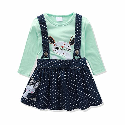 54bb78913 Baby Girl Clothes Set Denim Suspender Skirt Embroidered T-shirt Bunny Flower  Butterfly (2t