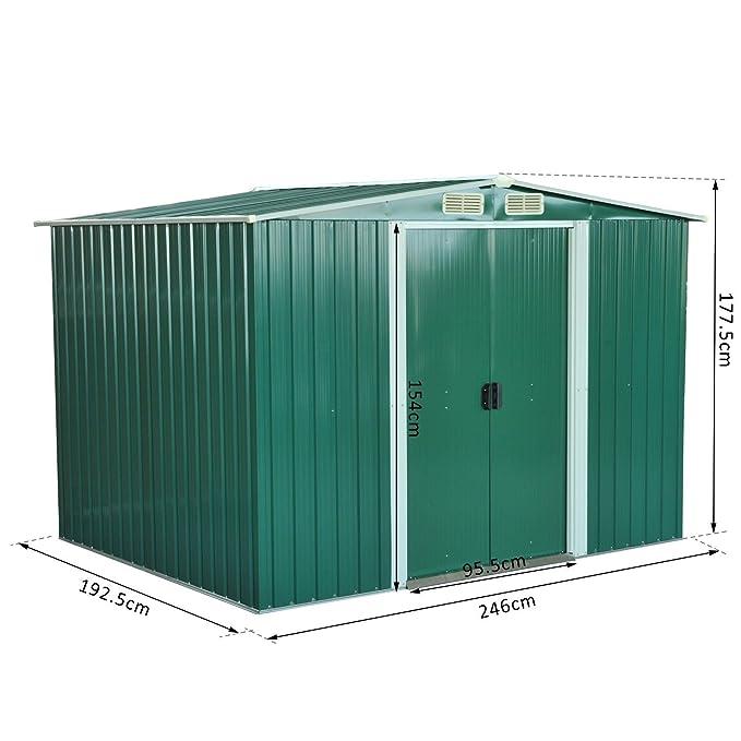 Outsunny – Caseta de jardín, armario para herramientas, de chapa de acero, 246 x 192, 5 x 177, 5 cm, verde: Amazon.es: Jardín