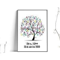Didart Handmade Cuadro árbol de huellas. Con marco varios colores a elegir. Personalizado Bodas, Comuniones, bautizos…