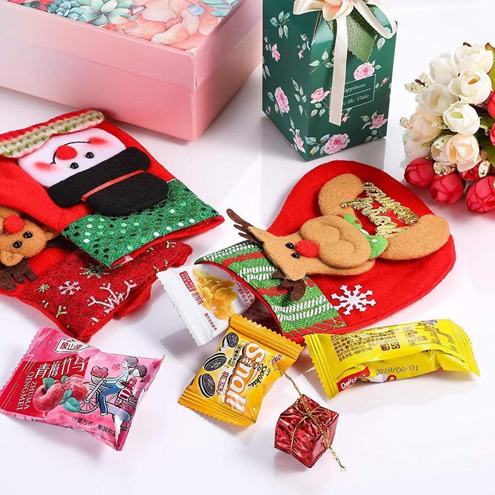 KEYkey Peque/ñas Medias de la Navidad Regalo y Tratar Colgar Bolsas Calcetines Ornamento en /árbol de Navidad Mini Medias de Navidad 12 Piezas
