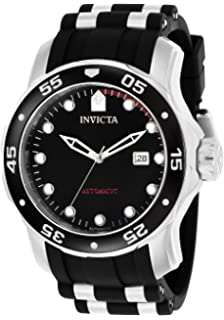 Invicta Mens Pro Diver Automatic Stainless Steel and Polyurethane Diving Watch, Color: