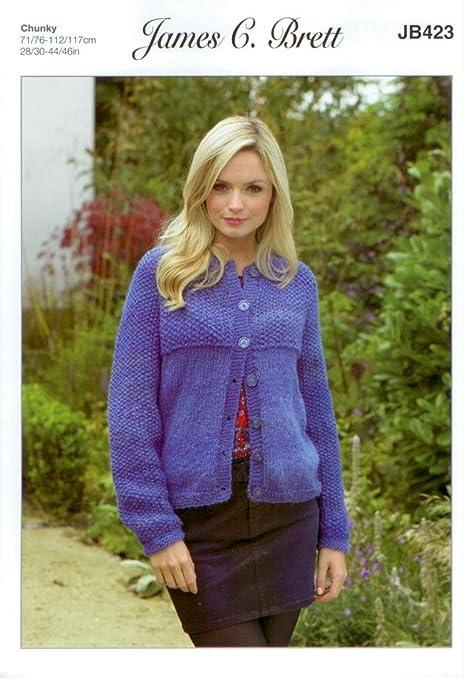 917c9761f0b4 James C Brett JB423 Knitting Pattern Womens Jacket in Marble Chunky Glamour   Amazon.co.uk  Kitchen   Home
