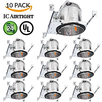 Sunco lighting 10 pack 6 new construction led can air tight ic sunco lighting 10 pack 6quot new construction led can air tight ic housing led recessed aloadofball