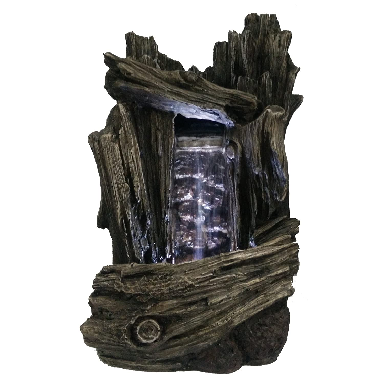 zen luz scf152 fuente cascada piedra madera 18 x 16 x 28 cm color marrn amazones hogar - Fuentes Zen