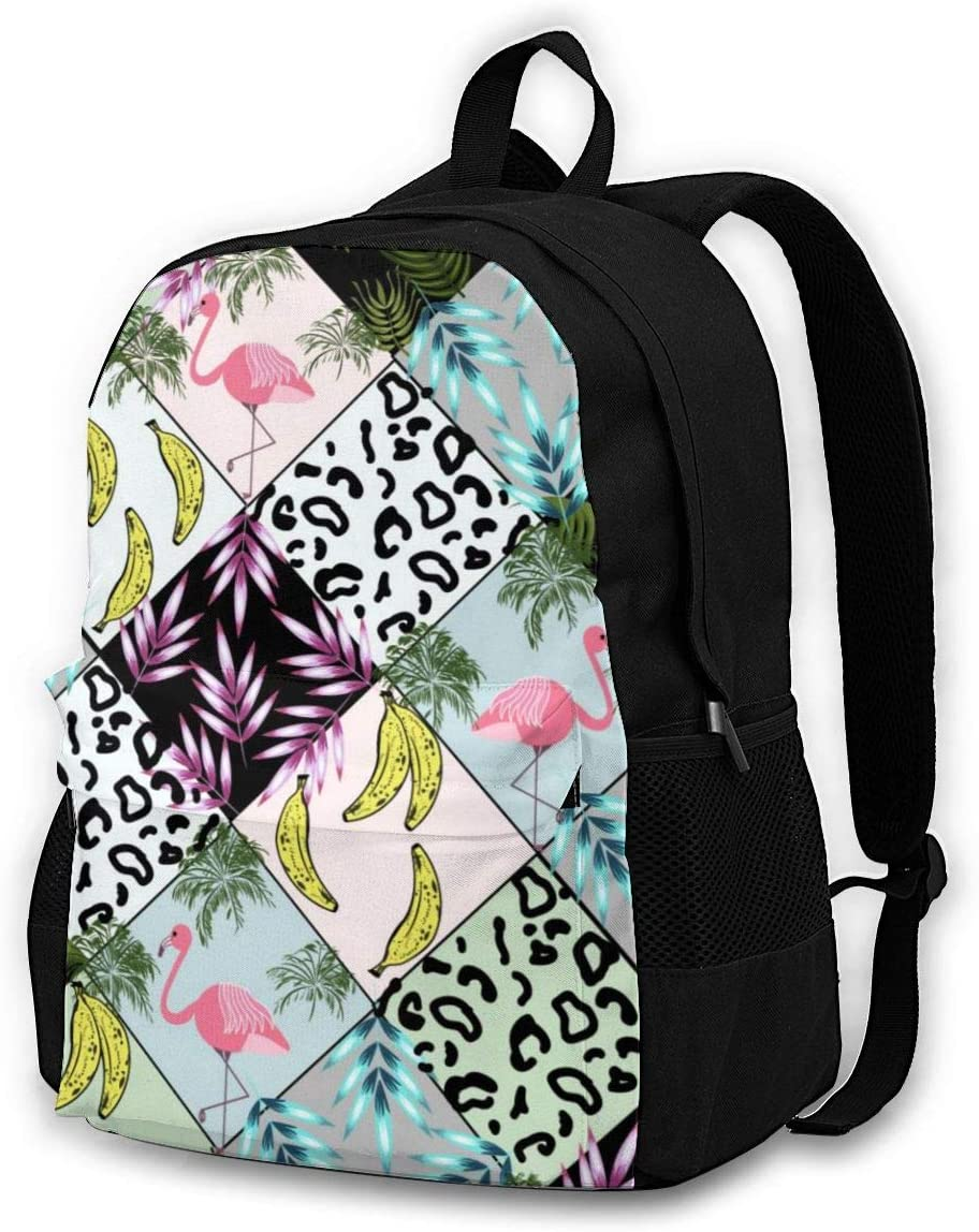 16.5 Lightweight Durable School Bags Bookbag Backpacks For Kids Teen,Banana Palm Leaf Leopard Flamingo Stripe College School Book Shoulder Bag Travel Daypack For Boys Girls Man Woman
