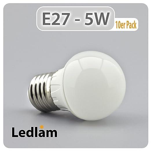 10er Pack acción bombilla LED E27 casquillo gota 500GP 5 Watt (equivalente a 40 Watt