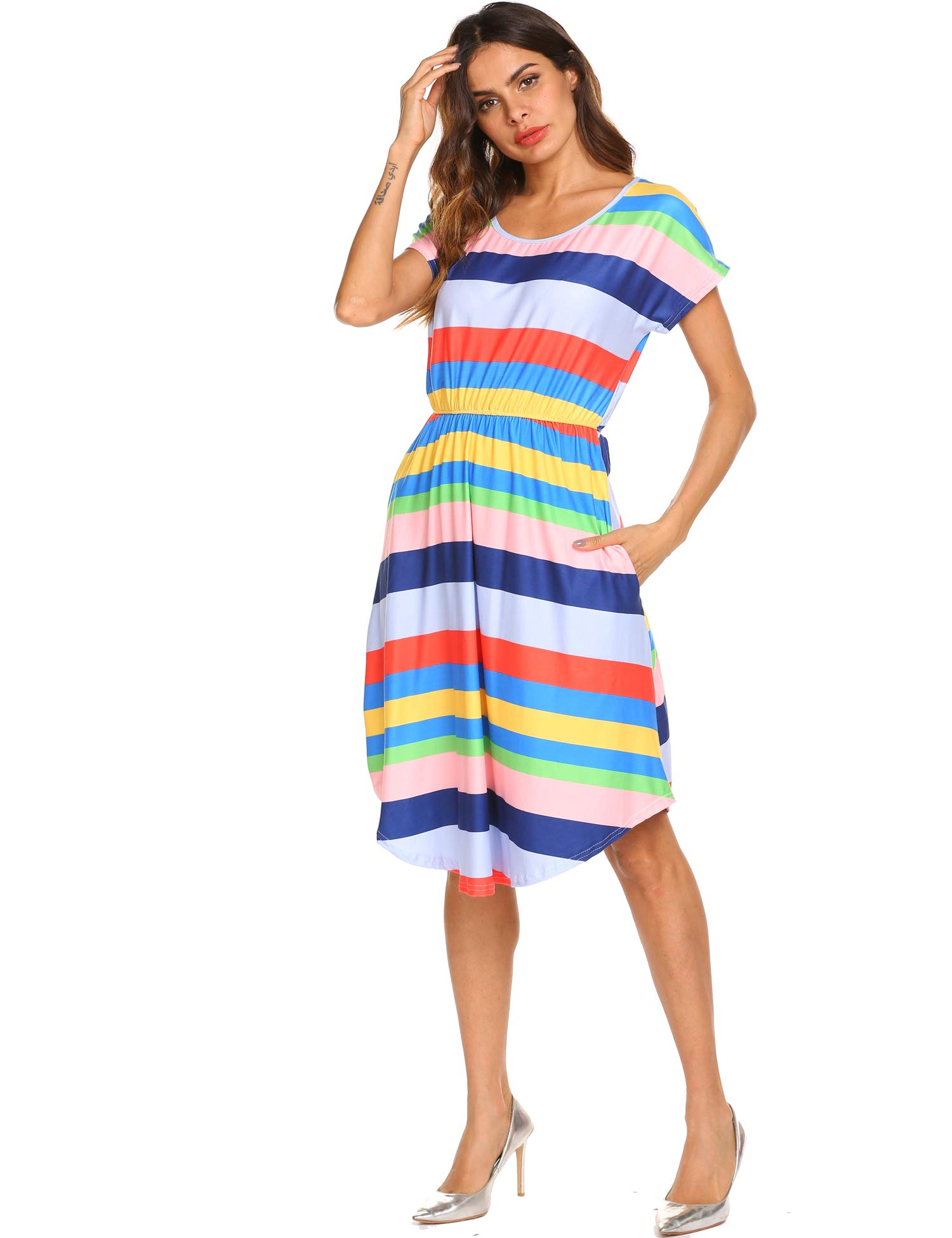 Women's Rainbow Short Sleeve A-Line and Flare Midi Long Dress Multi,M