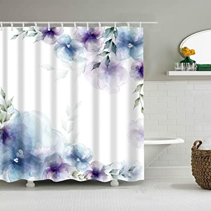 Blue Bathroom Shower Curtains.Broshan Watercolor Flower Bath Decor Shower Curtain Spring Retro Purple And Blue Flower Elegant Nature Art Print Bath Curtain Polyester Waterproof