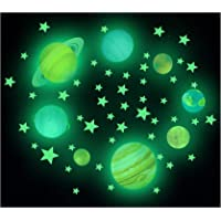 Glow in The Dark Stars Muurstickers, Sterrenwolken Heteluchtballon en volle maan voor sterrenhemel, 100 stralende…