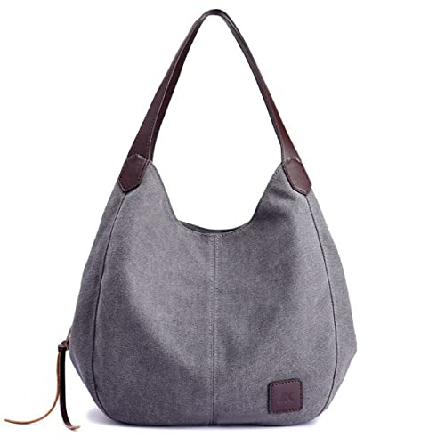 eada9c950 90 Eagle Hobo Canvas Handbag Vintage Women Tote Shoulder Bags Multi  Compartment (Gray)