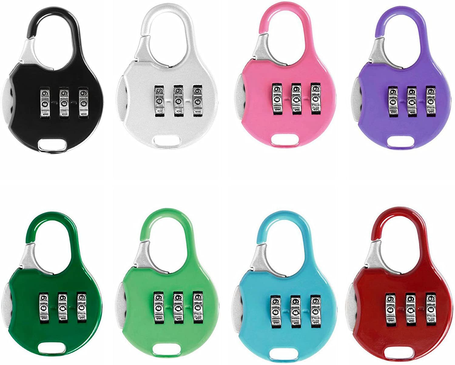 Color Locks 6 Pack ZPING 3 Digit Combinations Padlock the Safe Cipher Lock Resettable Code Lock