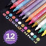 Jansroad Rotuladores de Pintura Acrílico , Marcadores Permanente 12 Colores para DIY, Dibujar, Colorear, Diseño de Taza , Sobre Madera, Piedras, Tela, Vidrio, Cerámica ,Metal