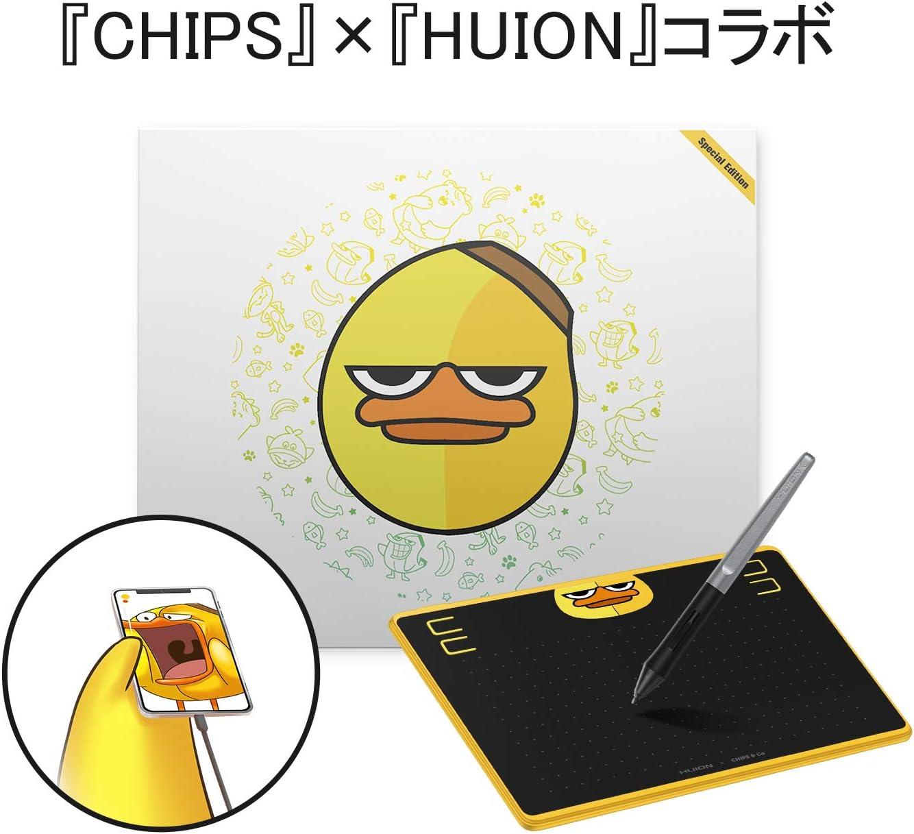 HUION ペンタブレットHS64特別版 スマホで使用可能 PCレス 筆圧8192充電不要ペン 6.3×4インチ ペンタブ