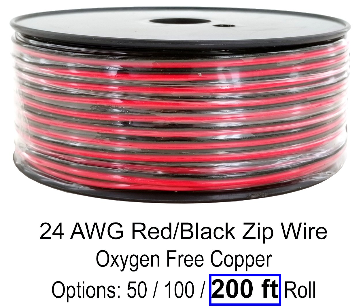 GS Power 24 AWG (American Wire Gauge) 200 Feet 99.9% OFC Oxygen Free Copper, Red Black Bonded Zip Cord Speaker Cable for Car Audio, Home Theater, LED Strip Light (Also Available in 50' & 100' roll)