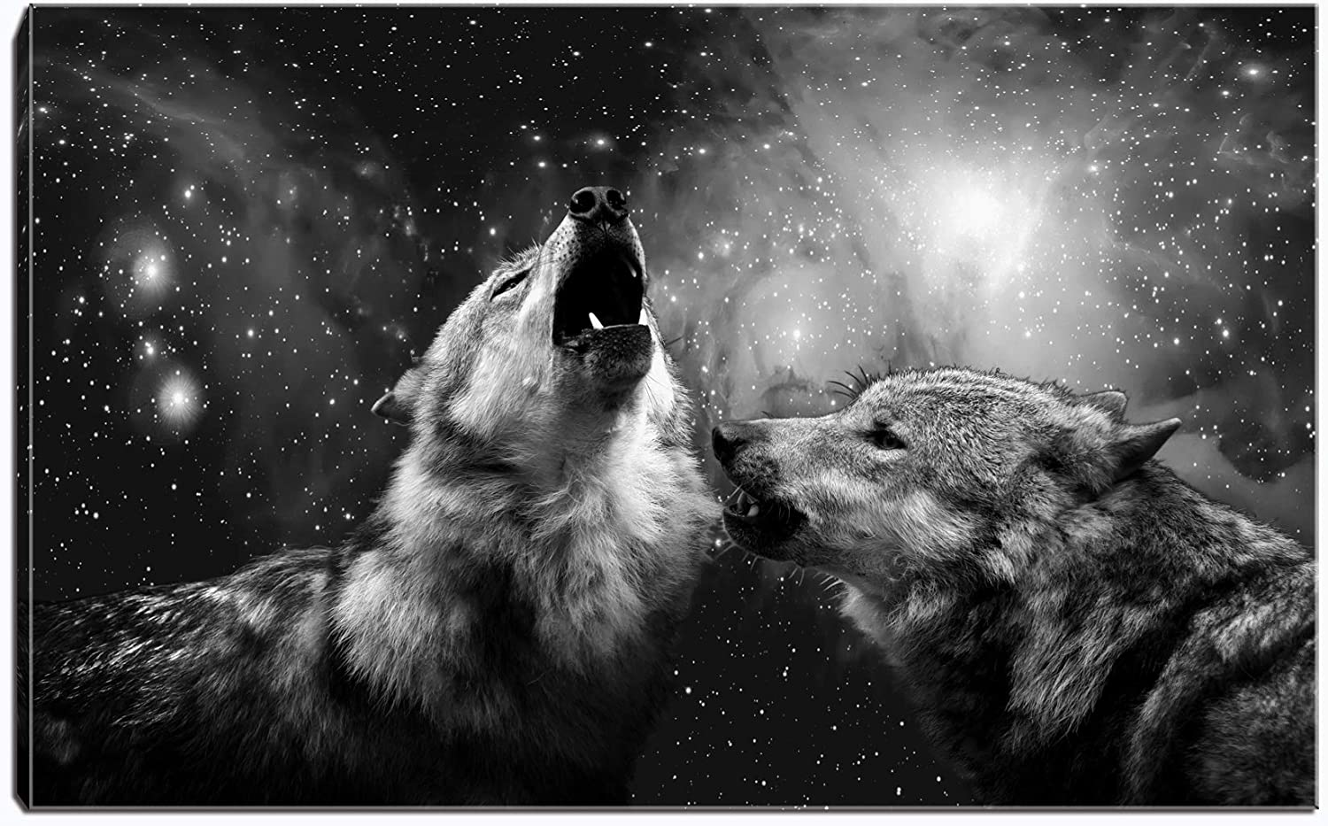 Wolf Under Sky Canvas Wall Art-Black and White Animal Painting Picture Stretched and Framed for Living Room Bedroom Bathroom Office Decor (Wolf Under Sky)¡­