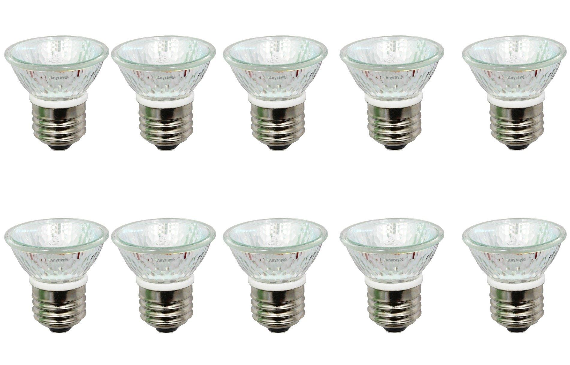 Anyray A1876Y (10-Pack) HR16 120V 35W E27/E26 MR-16 35 Watt JDR C Halogen Bulb PAR16 Lamp FMW Flood with Lens (35 Watts)