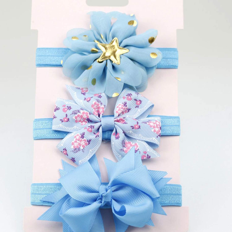 3Pcs//Card Chiffon Flower Bow Headband Baby Girls Hair Accessories Set Sparkling Golden Star Headband Sets Ribbon Bow Hairband,7