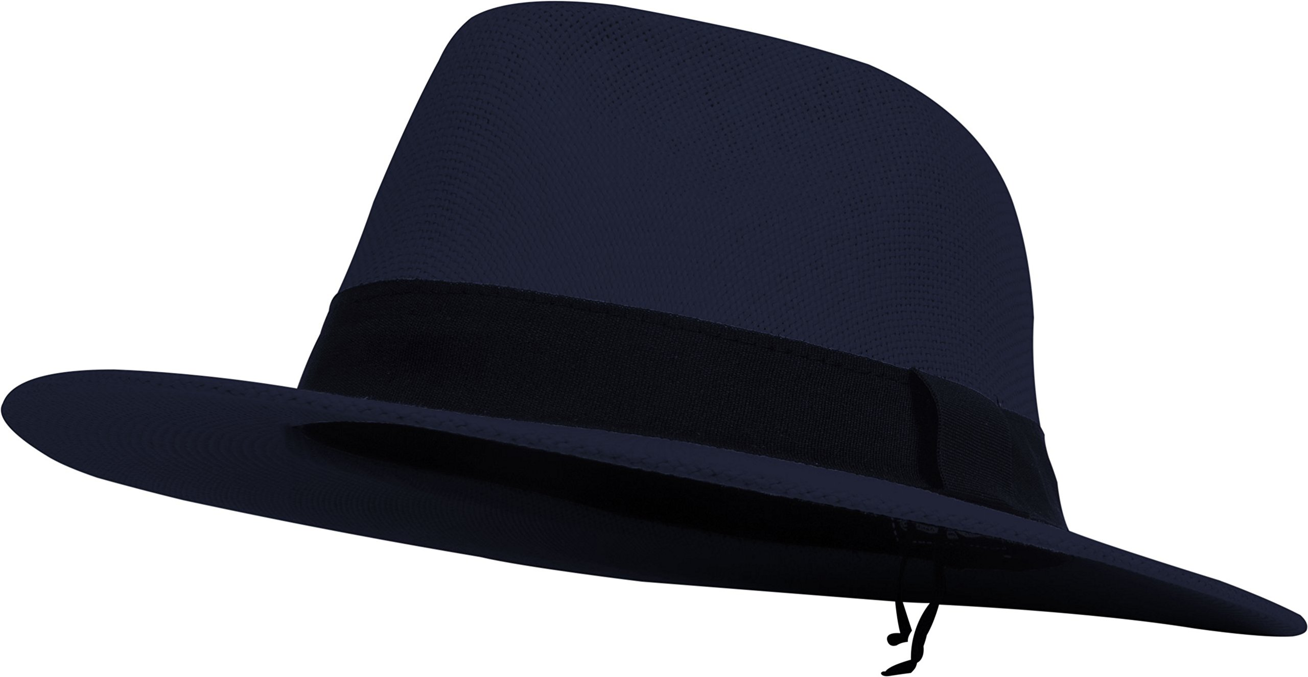 DRY77 Cool Straw Panama Hat Wide Large Flat Brim Fedora Outback Men Women Beach (Navy)