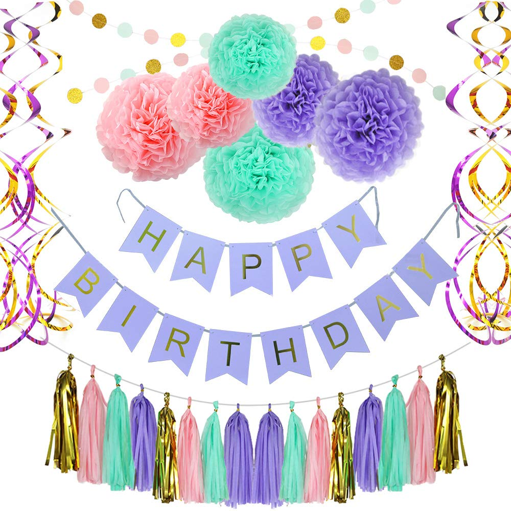 Birthday Party Decoration Party Supplies, Party Decors and Sets, Including Happy Birthday Banner, Paper Tassels, Paper Pom Pom, Dot Paper Garland and Swirls by HuaAnan (Image #1)
