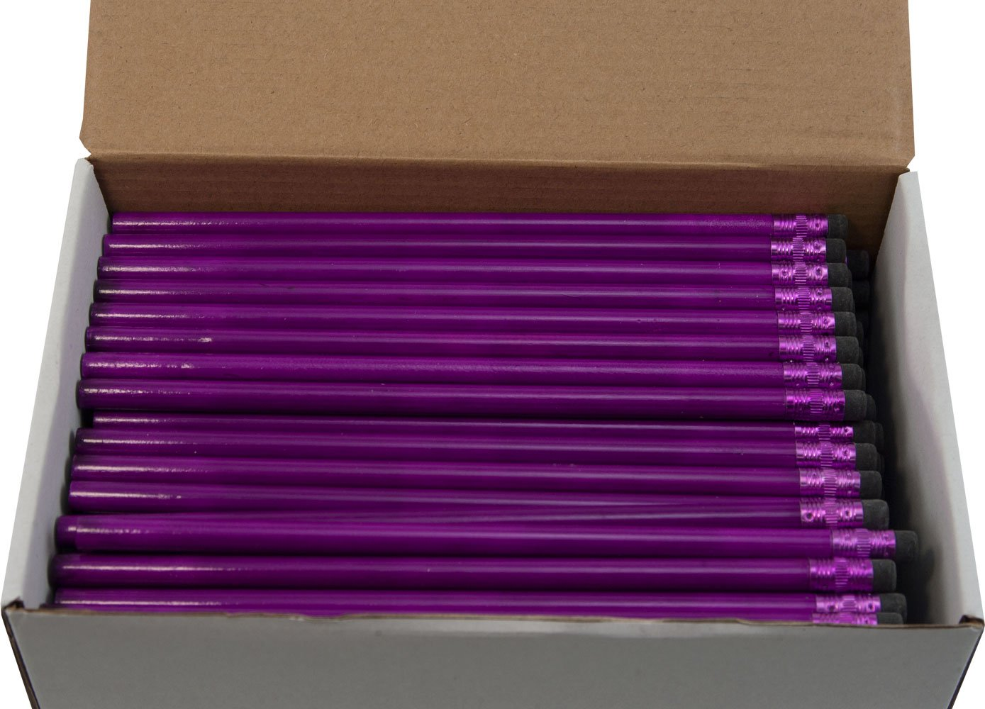 Round Pencils (Full Size Round Pencil with #2 Lead Available in a Variety of Colors) (Tested Non Toxic) (Latex Free Eraser) (Bulk Box of 144) (Classroom Pencils) (Purple Rain)