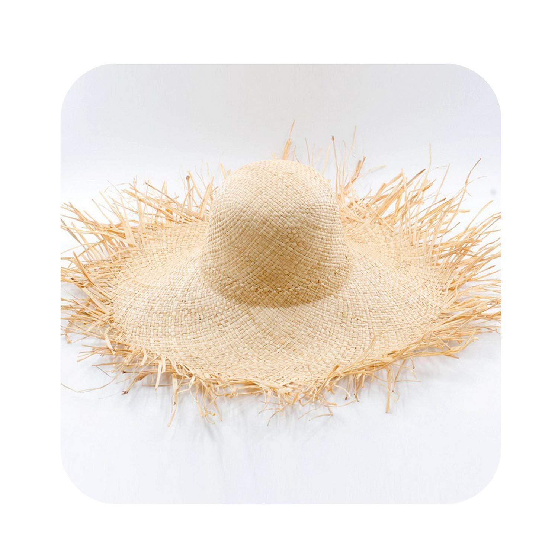 1 Floppy Hat Ladies Wide Brim Hats Sun Predection Hat Summer Beach Raffia Straw Hat 681060