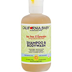 California Baby Tea Tree and Lavender Shampoo and Body Wash - Hair, Face, and Body | Gentle, Allergy Tested | Dry, Sensitive Skin, 8.5 ounces