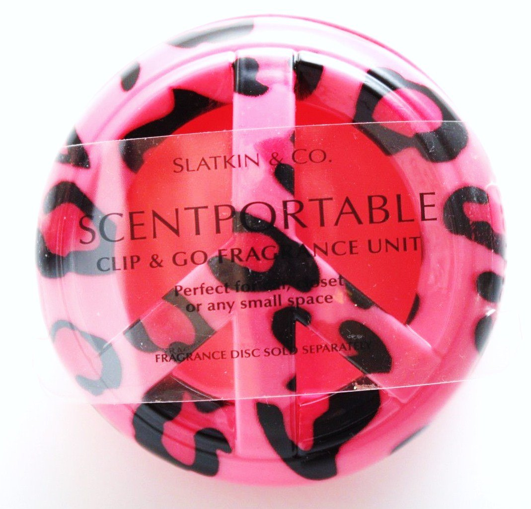 Bath & Body Works Scentportable Holder Bright Pink & Black Cheetah Animal Print Peace Sign