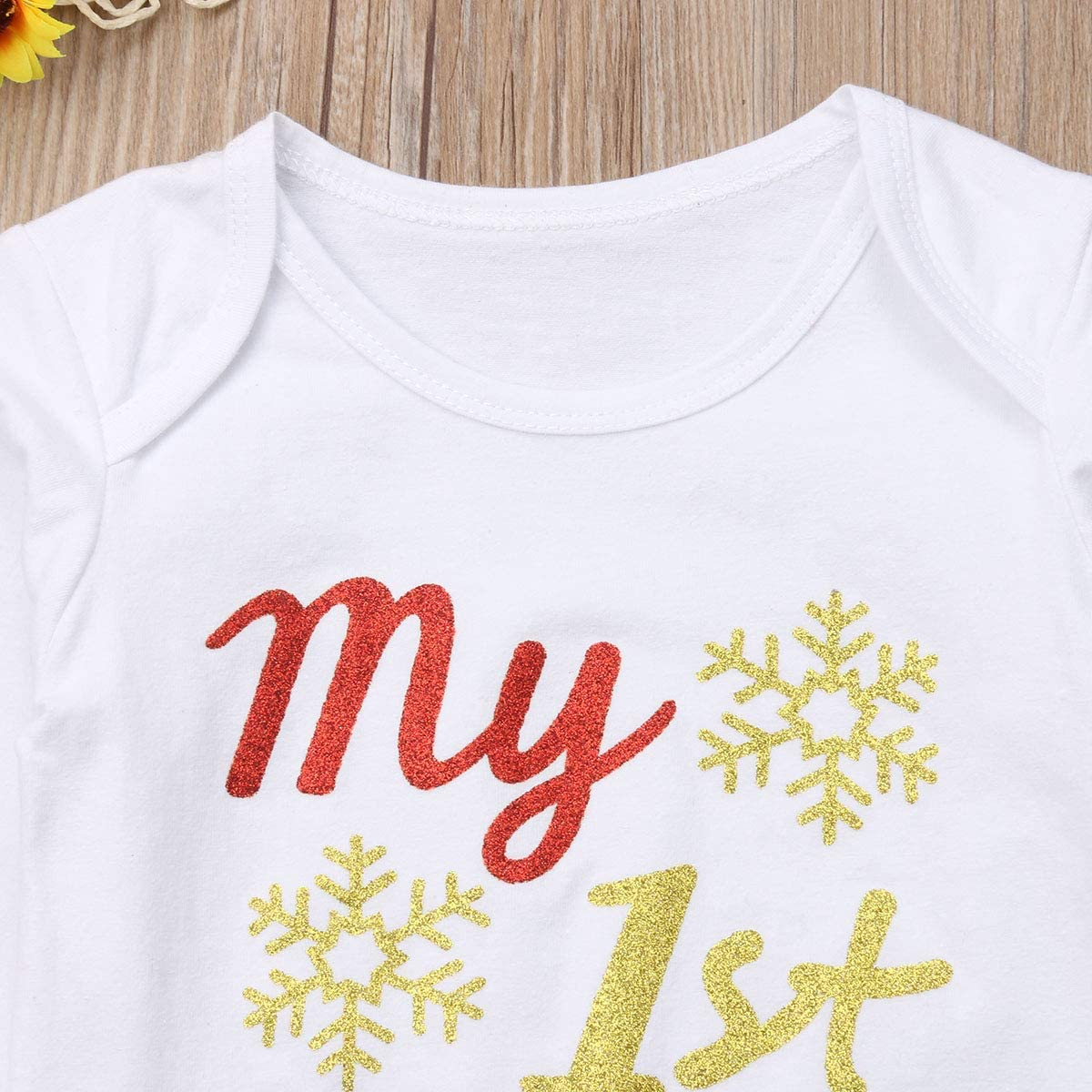 citgeett My 1st Christmas Newborn Baby Girls Snowflake Romper Bodysuit Bowknot Plaids Skirt Headband 3pcs Outfit