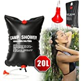 Camp Shower Pipe Bag, Solar Energy Heated Portable Shower PVC Water Bag with On/ Off Nozzle for Outdoor Camping, Hiking, Traveling, Backpacking 5 Gallon/20 Litre