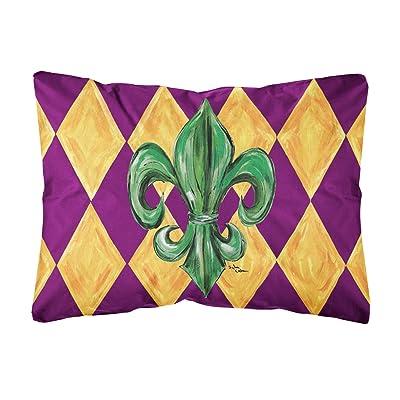 Caroline's Treasures 8133PW1216 Mardi Gras Fleur de lis Purple Green and Gold Canvas Fabric Decorative Pillow, 12H x16W, Multicolor : Garden & Outdoor