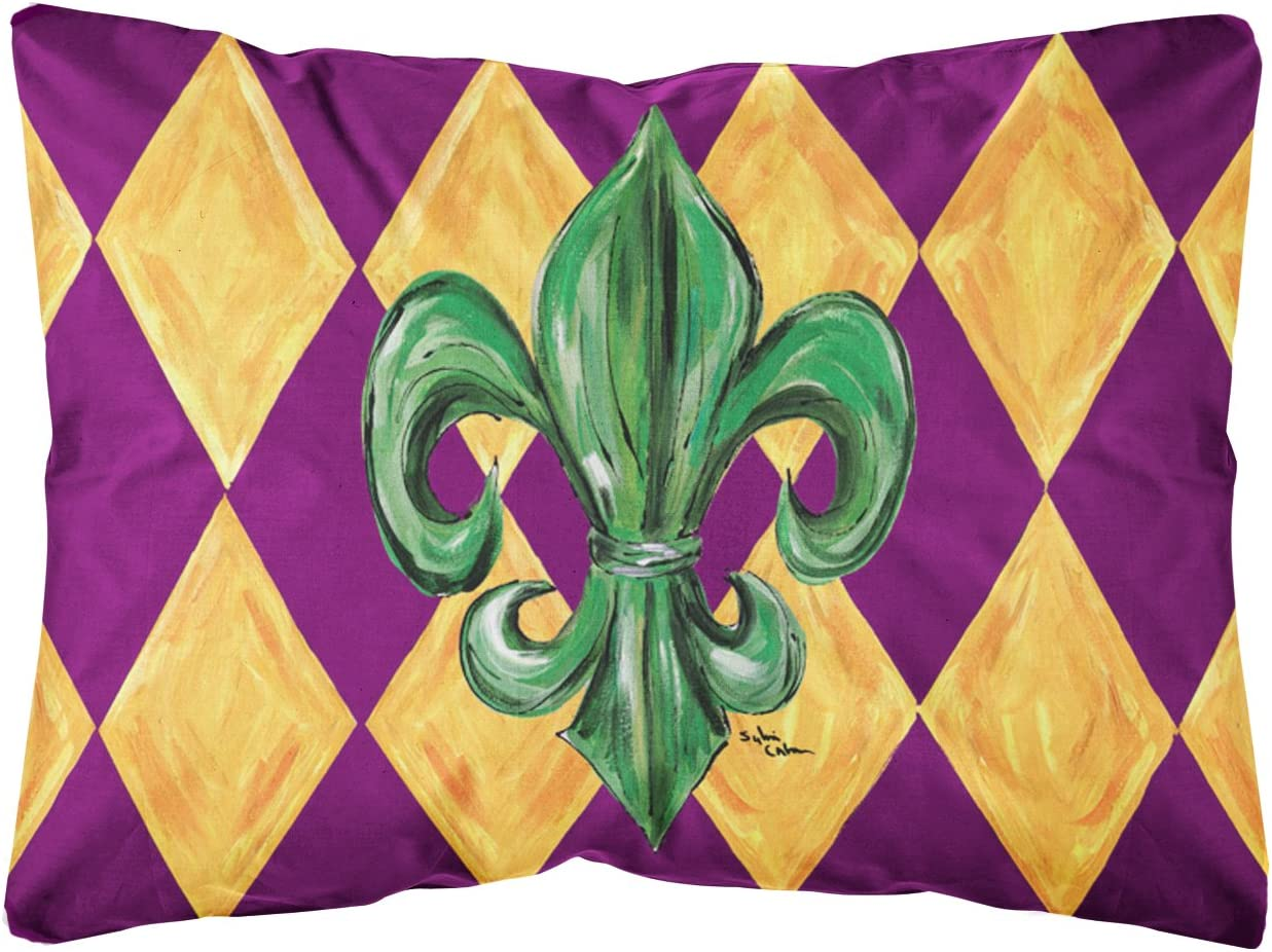 Caroline s Treasures Mardi Gras Fleur De Lis Purple Green Gold Fabric Decorative Pillow, Large, Multicolor