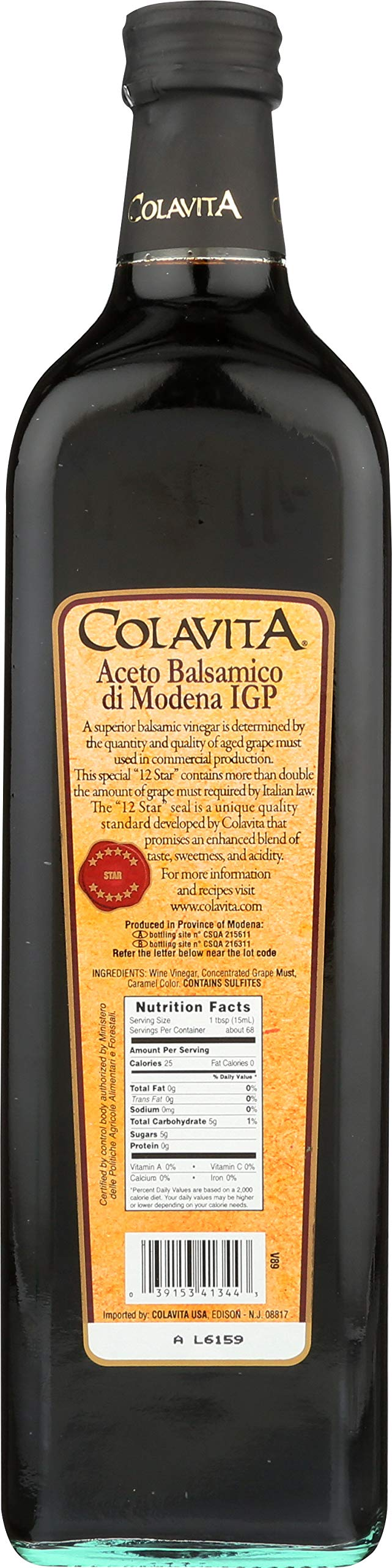"Colavita Balsamic Vinegar of Modena, 34 Ounce (Pack of 2) 2 Contains Two Bottles of Colavita Balsamic Vinegar of Modena, 34 Ounce Each This special ""12 Star"" balsamic vinegar contains more than double the amount of grape must required by Italian Law. Product of Modena, Italy"