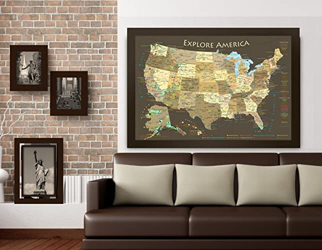 Amazoncom National Parks Map And USA Map Explore America Map - Usa large wall map
