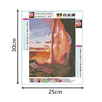 "Multicolor Tuu Diamond Painting Art Kit DIY Cross Stitch by Number Kit Arts Craft Wall Decor Partial Drill 11.7/""by 15.6/"",Home,No Frame"