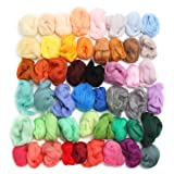 Jeteven 50 Colors Merino Wool Fibre Roving Spinning Sewing Trimming for Needle Felting DIY Craft