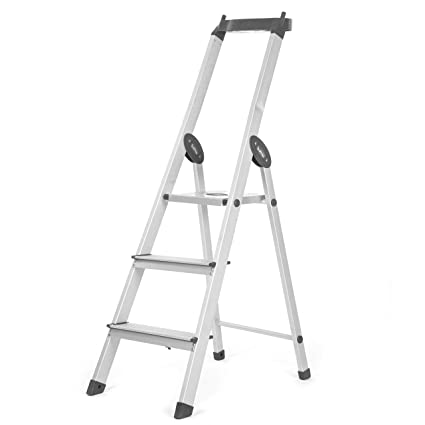 Bathla Elevate 3-Step Foldable Aluminium Ladder with Tool Tray (Black)