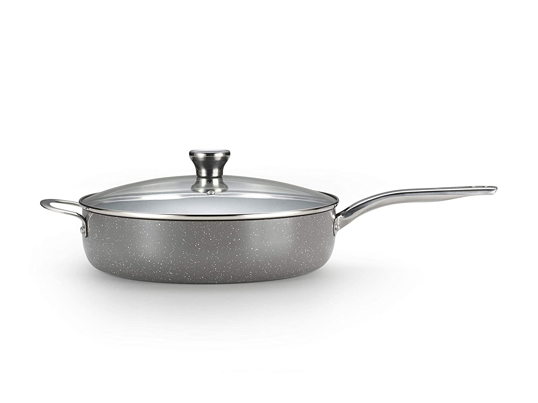 T-fal C41282 Endura Granite Ceramic Nonstick Thermo-Spot Heat Indicator Dishwasher Oven Safe PFOA Free Jumbo Cooker with Lid Cookware, 5-Quart, Gray