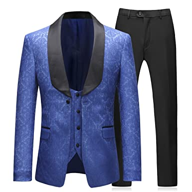 035ddc00d53 Boyland Mens 3 Piece Tuxedos Elegant Jacquard Royal Blue Suit Slim Fit(Tux  Jacket+
