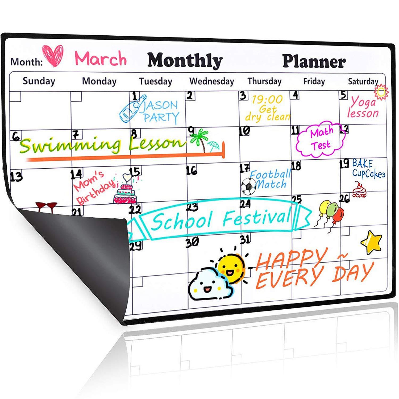 Homein Calendario Magnético de Nevera, Pizarra Planificador Mensual y Semanal de Menú, Recordatorio, Lista de la Compra, Estudio, Calentario Frigorifico con ...