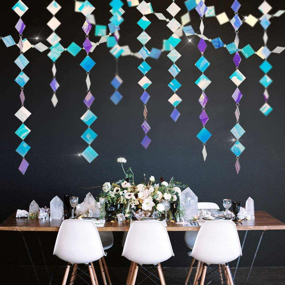 30ft Iridescent Hanging Diamond Garland for Fairy Princess Theme Party Supplies Rainbow Geometric Streamer for Mermaid Wedding/Baby Shower/Birthday Party Décor Ceiling/Wall/Window/Showcase Decoration