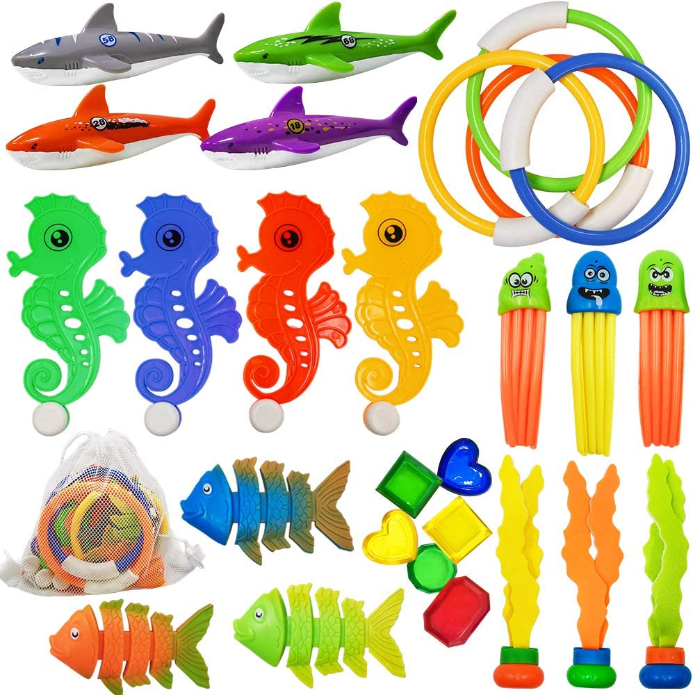 Pool//Swimming Toys of Various Types Best Kids Toys Gift Set for Boys/& Girls SummBer Underwater Fun with Diving rings/& Torpedo Bandits/& Octopus/& Fishes/& Private Treasures ToyerBee Diving toys 27 PCS