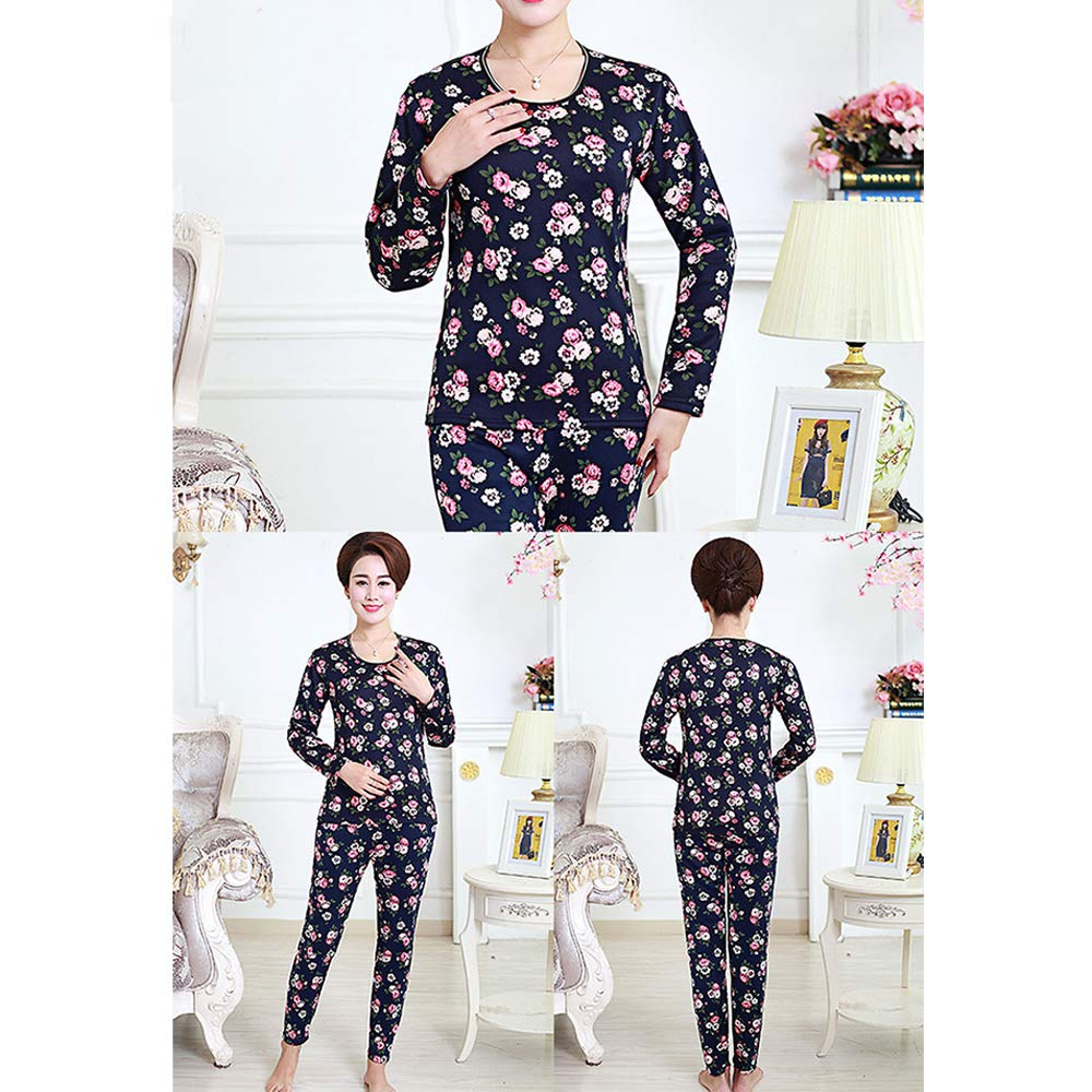 XFentech Women Thermal Underwear Set Winter Warm Plus Velvet Pyjamas Set