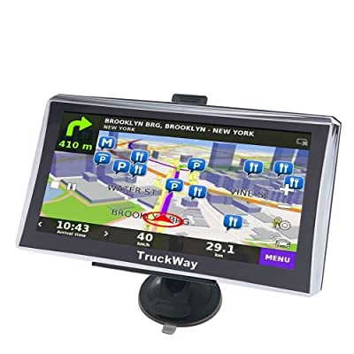"TruckWay GPS - Pro Series Model 720 - Truck GPS 7"" Inch for Truck Drivers Navigation Lifetime North America Maps (USA + Canada) 3D & 2D Maps, Touch Screen, Turn by Turn Directions: GPS & Navigation"
