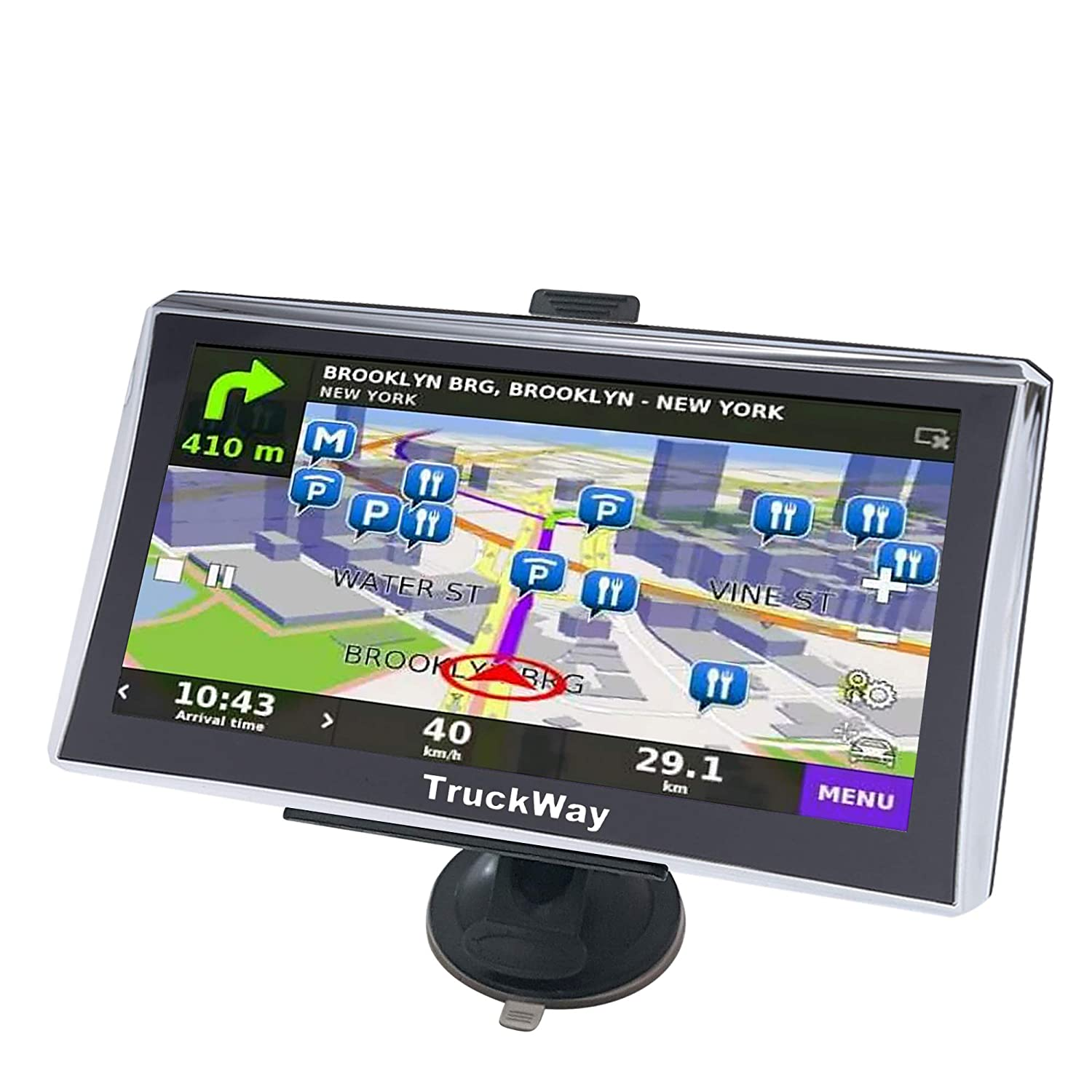 TruckWay GPS - Pro Series Model 720 - Truck GPS 7' Inch Truck Drivers Navigation Lifetime North America Maps (USA + Canada) 3D & 2D Maps, Touch Screen, Turn Turn Directions Pro Series 720