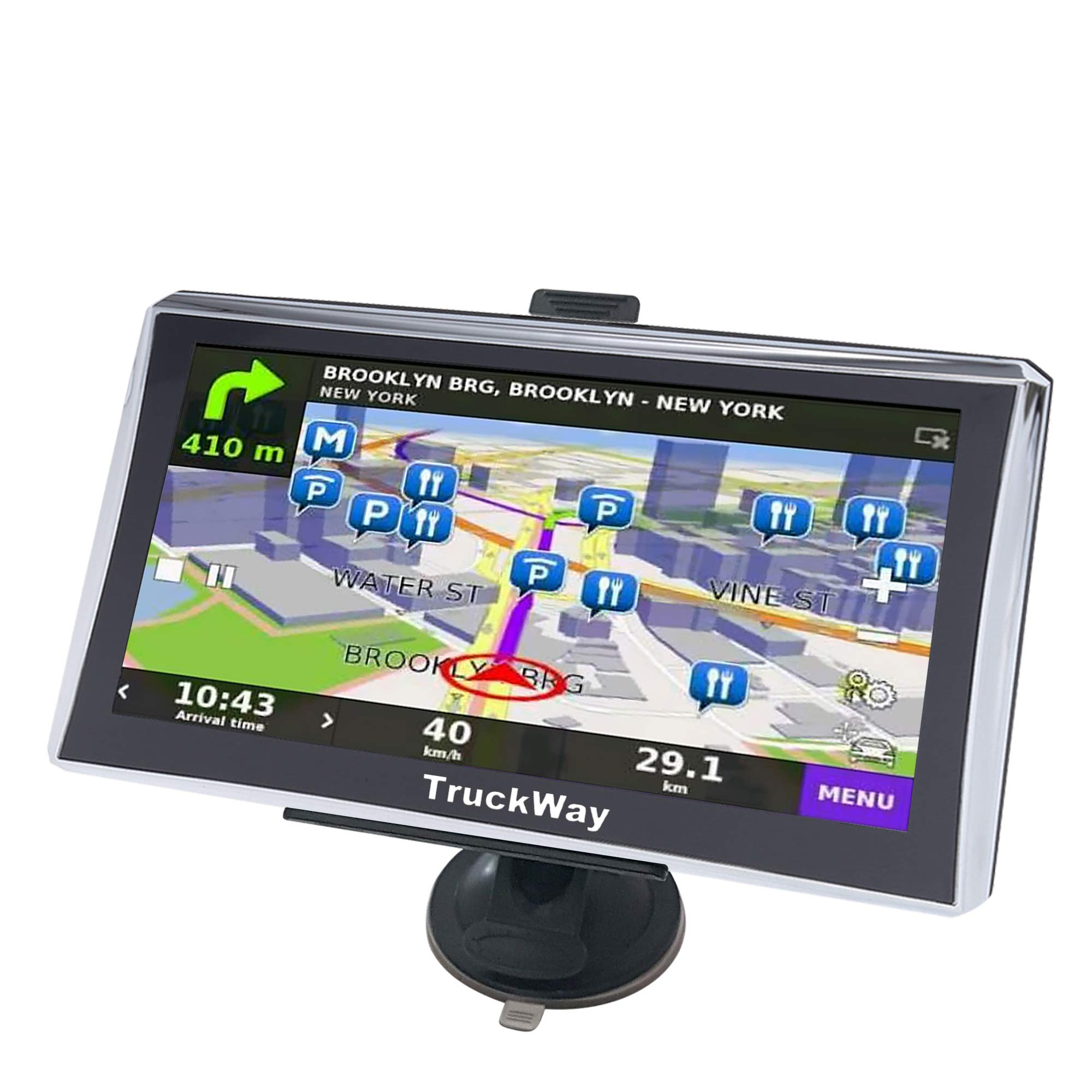 TruckWay GPS - Pro Series Model 720 - Truck GPS 7'' Inch for Truck Drivers Navigation Lifetime North America Maps (USA + Canada) 3D & 2D Maps, Touch Screen, Turn by Turn Directions by TruckWay