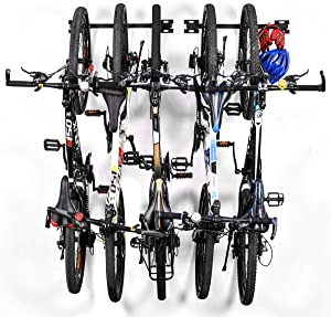 Sunix Bike Storage Rack Bike Wall Mount Bike Hanger Bicycle Wall Storage Rack Garage Bike Rack for Home Garage Hold up to 5 Bicycles, 2 Pack